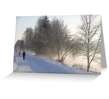 Cold winters day along the river Glomma, Elverum, Norway. Greeting Card