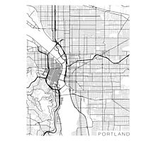 Portland Map, USA - Black and White Photographic Print