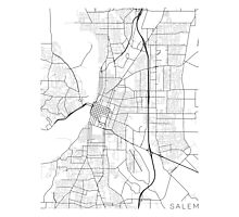 Salem Map, USA - Black and White Photographic Print