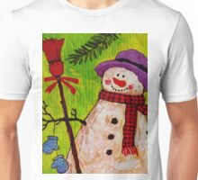 Snowman and Broom Unisex T-Shirt