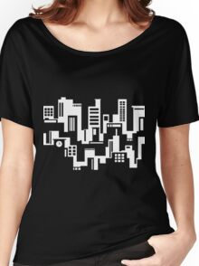Black and white cityscape Women's Relaxed Fit T-Shirt