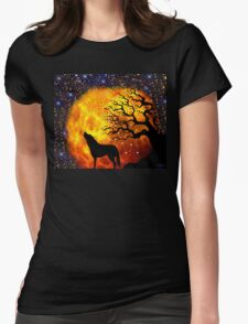 WOLF ENCOUNTER Womens Fitted T-Shirt