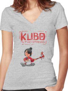 Kubo Movie Animasi 2016 Women's Fitted V-Neck T-Shirt