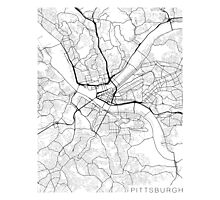Pittsburgh Map, USA - Black and White Photographic Print