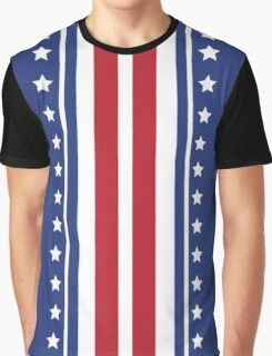 Patriotic Vertical Stars and Stripes Pattern Graphic T-Shirt