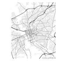 Columbia Map, USA - Black and White Photographic Print