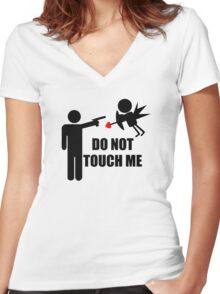 DO NOT TOUCH ME Women's Fitted V-Neck T-Shirt