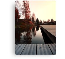 Romantic evening at the lake IV | waterscape photography Canvas Print