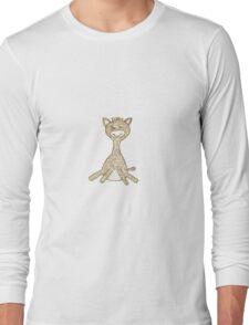 Giraffe, hand drawn, golden Long Sleeve T-Shirt