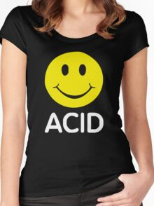 ACID HOUSE SMILEY FACE 90's Rave   2422 Women's Fitted Scoop T-Shirt