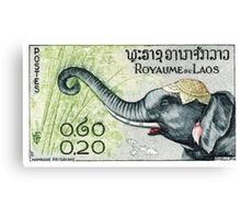 1958 Laos Elephant Eating Bamboo Postage Stamp Canvas Print