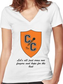 Chudley Cannons Logo with Motto Women's Fitted V-Neck T-Shirt