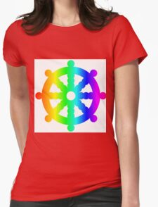 Rainbow Wheel Of Dharma Womens Fitted T-Shirt