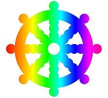 Rainbow Wheel Of Dharma Photographic Print