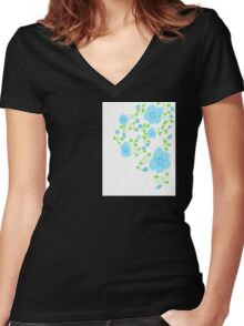 Pixie Dust Floral Blue Women's Fitted V-Neck T-Shirt