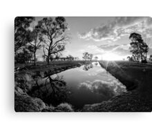 Reflections on irrigation channel - Tongala Victoria Australia Canvas Print