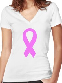 Pink Breast Cancer Ribbon Women's Fitted V-Neck T-Shirt