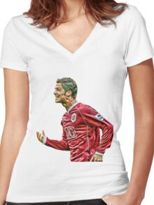 cristiano ronaldo champion Women's Fitted V-Neck T-Shirt