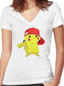 Pika Wearing Hat Women's Fitted V-Neck T-Shirt