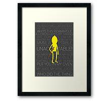 Lemongrab Silhouette & Quotes Framed Print