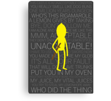 Lemongrab Silhouette & Quotes Canvas Print