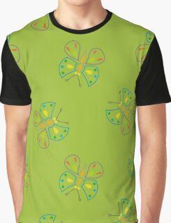 butterflies on green Graphic T-Shirt