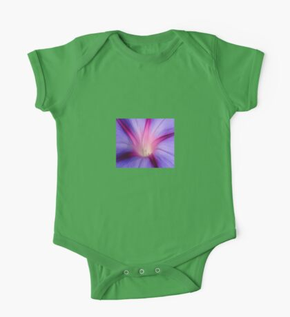 Lilac and Fuschia Morning Glory in Macro One Piece - Short Sleeve