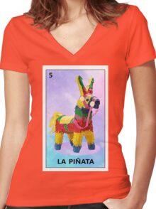 LA PINATA Women's Fitted V-Neck T-Shirt