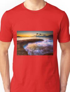 Curved rock and abstract waters at dawn Unisex T-Shirt