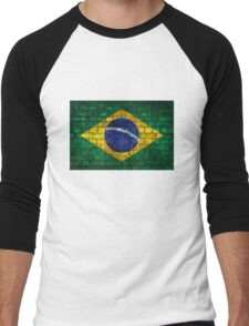 Brazil flag painted on a brick wall in an urban location Men's Baseball ¾ T-Shirt