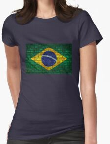 Brazil flag painted on a brick wall in an urban location Womens Fitted T-Shirt