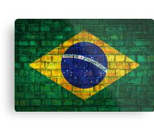 Brazil flag painted on a brick wall in an urban location Metal Print