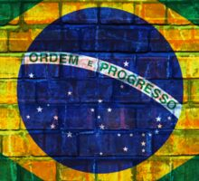 Brazil flag painted on a brick wall in an urban location Sticker