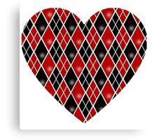 Harley Quinn Diamonds and Heart Canvas Print