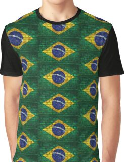 Brazil flag painted on a brick wall in an urban location Graphic T-Shirt