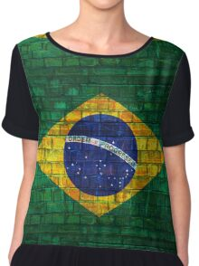 Brazil flag painted on a brick wall in an urban location Chiffon Top