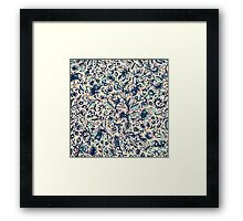Teal Garden - floral doodle pattern in cream & navy blue Framed Print