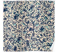 Teal Garden - floral doodle pattern in cream & navy blue Poster