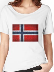 Norway flag on a brick wall surface Women's Relaxed Fit T-Shirt