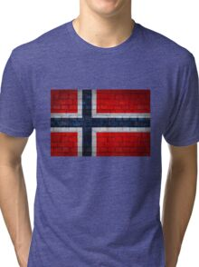 Norway flag on a brick wall surface Tri-blend T-Shirt
