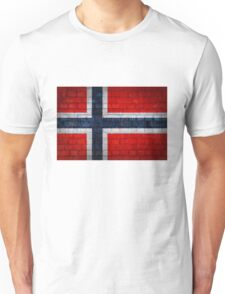 Norway flag on a brick wall surface Unisex T-Shirt