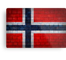 Norway flag on a brick wall surface Metal Print