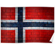 Norway flag on a brick wall surface Poster