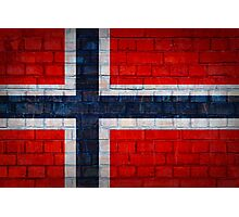 Norway flag on a brick wall surface Photographic Print