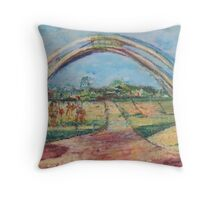 Sunny Impression of an arch and Landscape Throw Pillow