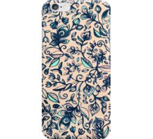 Teal Garden - floral doodle pattern in cream & navy blue iPhone Case/Skin