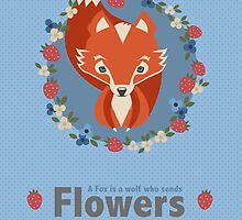 Cute fox surrounded by flowers by Leannenicola