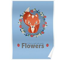 Cute fox surrounded by flowers Poster
