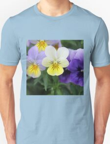 Italian Purple and Yellow Pansy Flowers Unisex T-Shirt