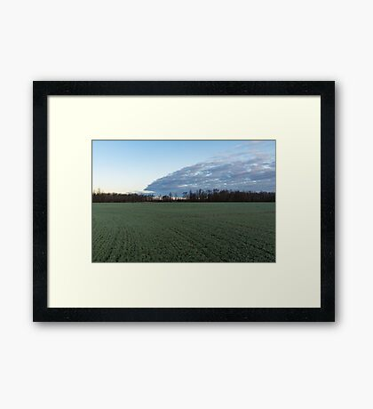 Delicate Young Crops - Coordinated Clouds and Furrows Framed Print